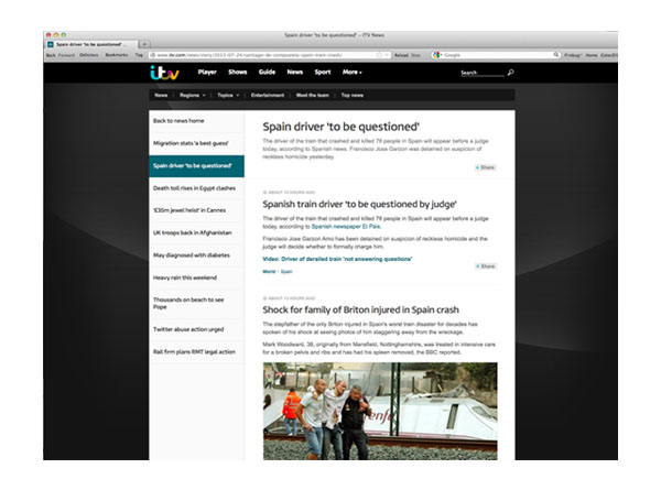 ITV News Web Page