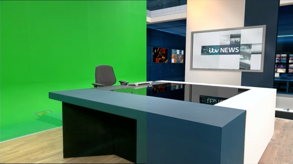 The ITV News set in VR and composite